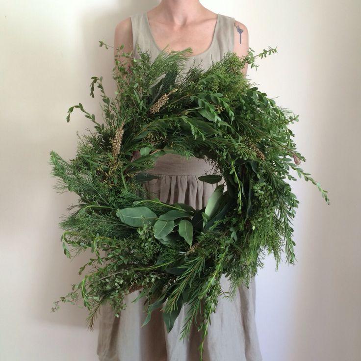 Wreath made using foraged native Australian flora by @iamalchemy.