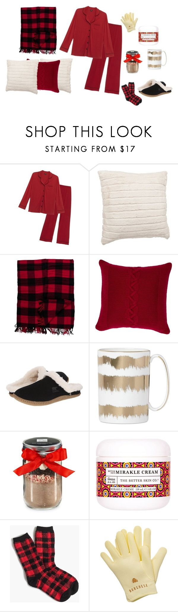 """Cozy in the Snow"" by jenniach on Polyvore featuring Cosabella, Pendleton, Rani Arabella, SOREL, Lenox, The Hampton Popcorn Company, The Better Skin Co., J.Crew, Borghese and plus size clothing"