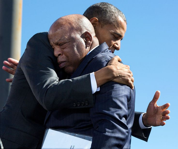 President Barack Obama hugs Rep. John Lewis (D-Ga.) after his introduction during the event to commemorate the 50th Anniversary of Bloody Sunday and the Selma to Montgomery civil rights marches, at the Edmund Pettus Bridge in Selma, Alabama, on March 7, 2015.