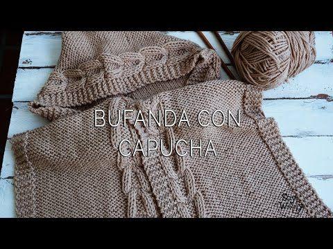 Un proyecto fácil: con sólo derecho y revés puedes tejer esta bufanda con capucha y aprender a hacer un cable o trenza diferente.. PATRÓN GRATIS E INSTRUCCIO...