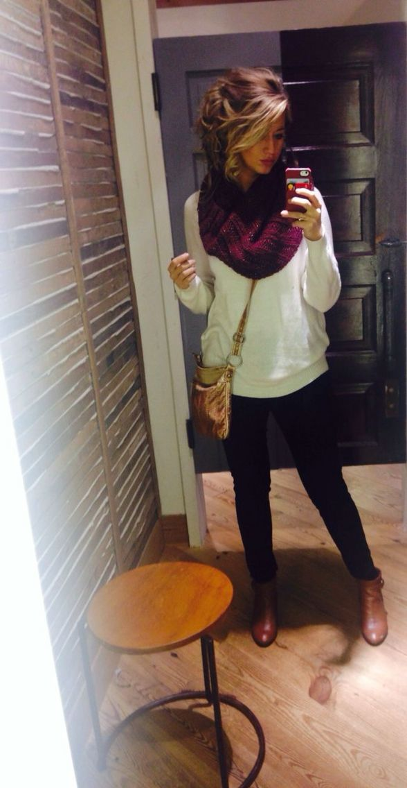 infinity scarf, sweater, leggings, & boots