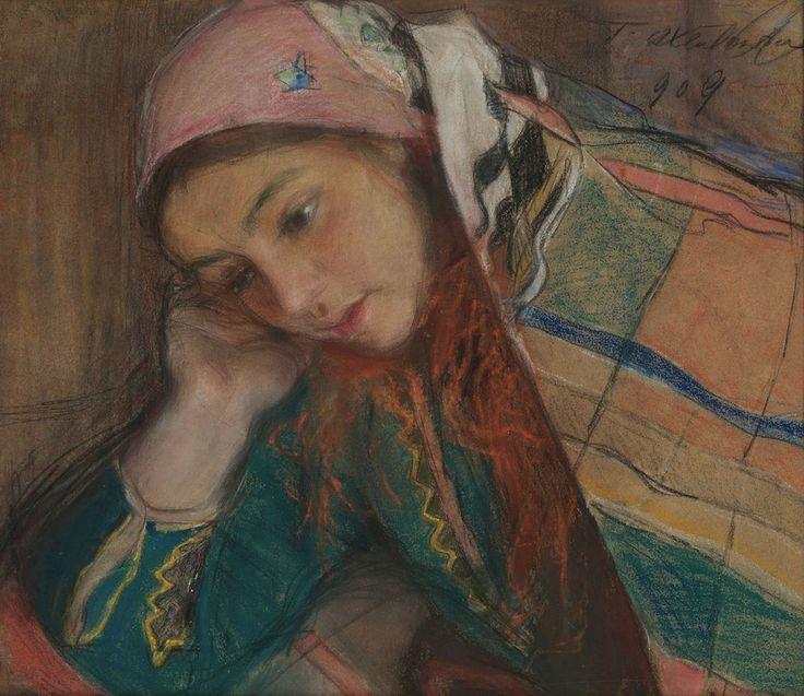 Teodor Axentowicz Portret dziewczyny w stroju krakowskim