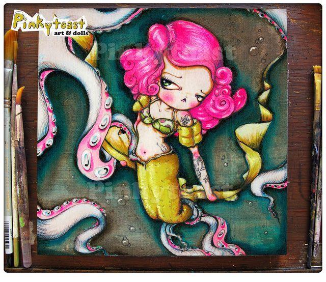 3 Pinup Tattoo Meerjungfrau Krake Pinkytoast Lowbrow Kunst 8 x 8 2013,  #Krake #Kunst #Lowbro…