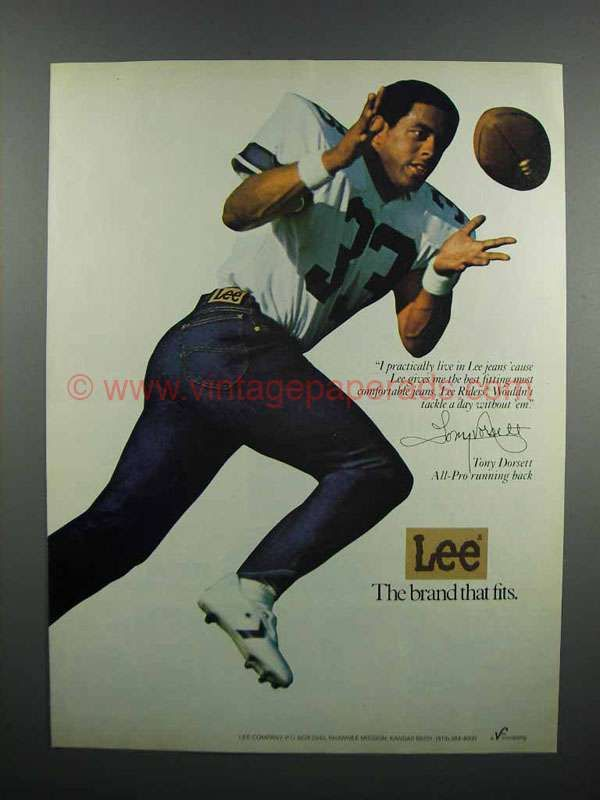 1983 Lee Riders Jeans Ad - Tony Dorsett