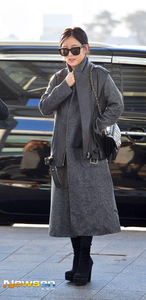 티아라 소연 '롱코트+통굽부츠로 멋낸 공항패션'
