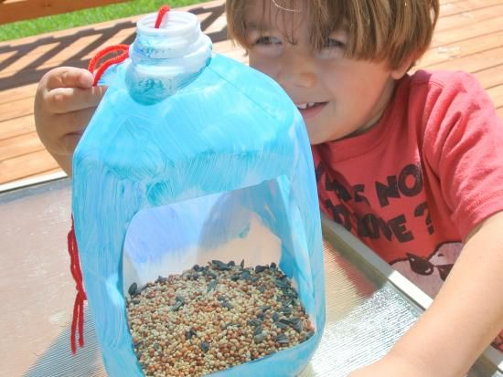 My son and I love feeding the birds that pay a visit to our neighborhood. When he was young, my son would just sprinkle seeds in our yard. Now that my sons older, weve thought up some more creative ways to feed the birdies (like this milk jug bird feeder). For me anyways, the best part of creating this craft is afterwards, when my son and I can sit back, enjoy each others company, and watch for our fine-feathered friends!