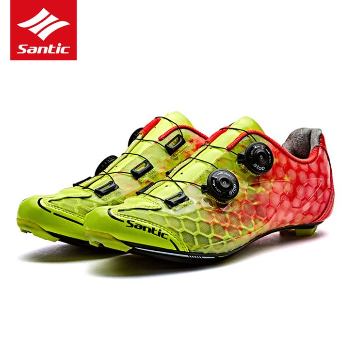 Santic Road Cycling Shoes Men Breathable Bike Shoes Carbon Fiber Self-Locking Bicycle Shoes Racing Athletic Sapatilha Ciclismo