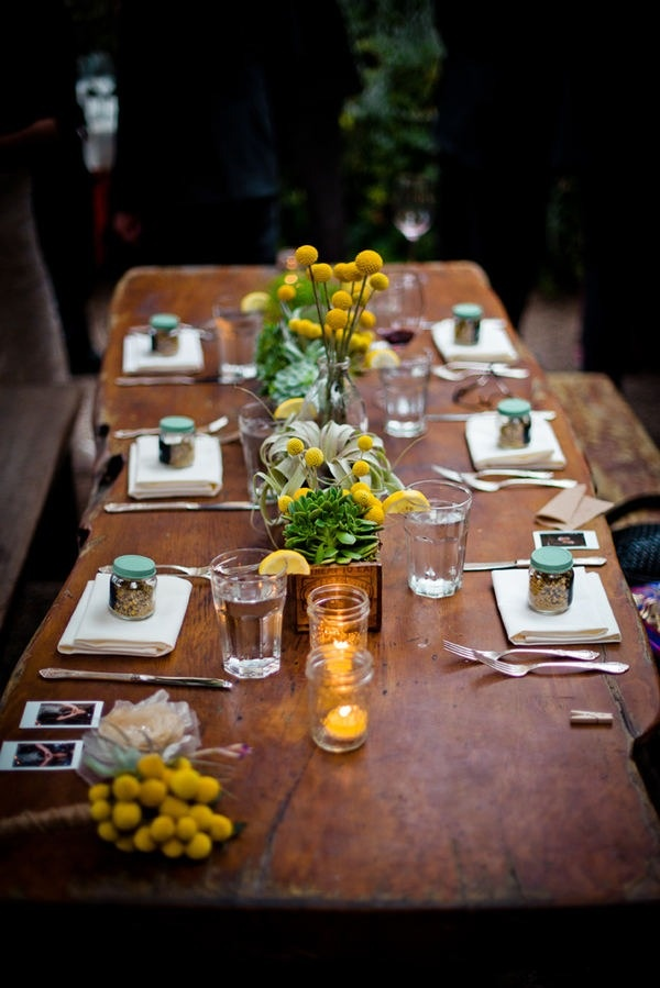 TABLE TOPPERS: I love the Billy Buttons, succulents and the Mason jars ... All three things I plan on using together as well. Really pretty, informal setting ... I like this a lot.