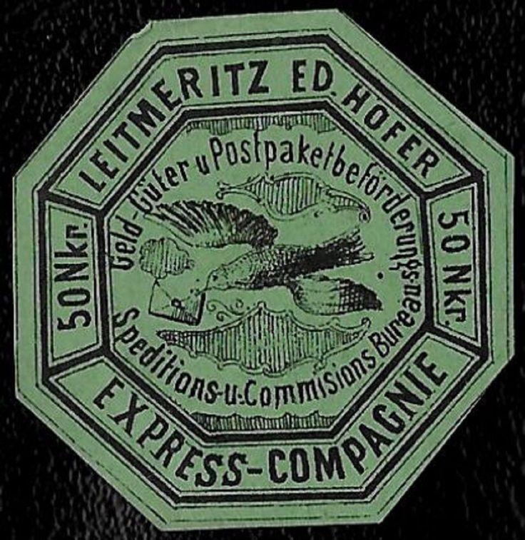 + 1867 Ed Hofer Leitmeritz Austria 50kr Private Express Local Post Green MH