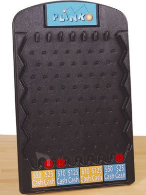 Plinko Game. The Plinko Game comes with 3 pucks.   The game sits on the floor and measures 4 feet tall.