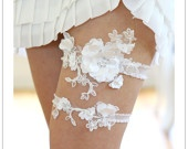 Satin blossom garter - white beaded satin petals on embroidered lace