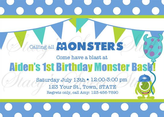 14 best monster inc birthday party images on pinterest monster inc monsters inc birthday invitation diy printable filmwisefo