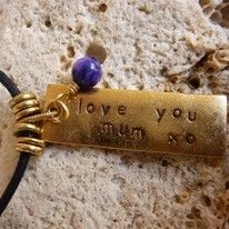Handstamped affirmation word charm pendant- Love you Mum   handmade with love  Noosa