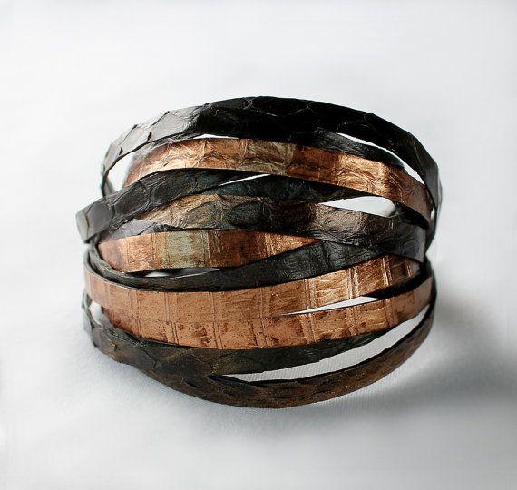Python snake skin bracelet  gold olive green by sonhee on Etsy, $48.00