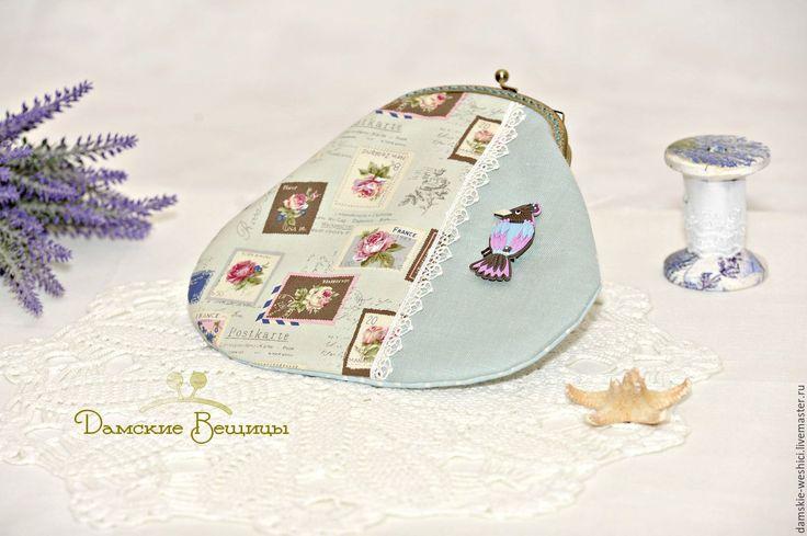 """Купить Косметичка, сумочка с фермуаром, линия """"Райские птички"""" - подарок девушке, подарок на день рождения"""