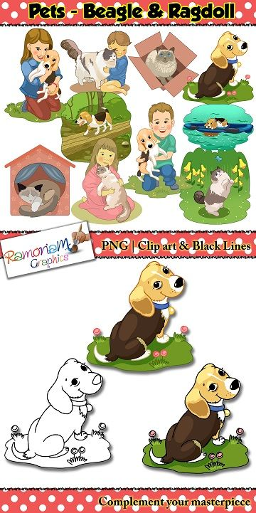 Pets Clip art set contains various images of a Beagle Dog and Ragdoll Cat.