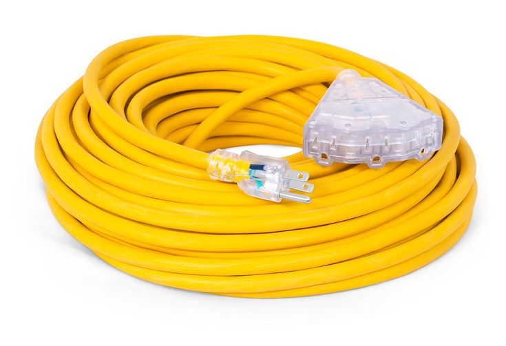Internet's Best 100 FT Triple Tap Extension Cord with LED Lighted Plugs | 12 AWG (Gauge – 12/3) Heavy Duty Outdoor/Indoor Power Extension Cable Cord | NEMA 5-15R & 5-15P | 3 Outlet | Yellow