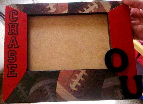 Football Photo Frame, Oklahoma University, Sooners  (I made this for my friend's son)
