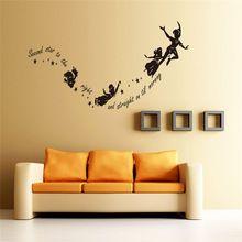 Tweede ster rechts fairy muurstickers letters slaapkamer indoor wall art decor diy zwart vinyl verwijderbare stickers(China)