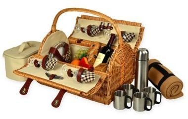 Picnic at Ascot Yorkshire Picnic Basket for 4 with Coffee Service and Blanket in London Plaid