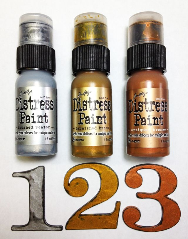 Distress Paint - Metallic  Tutorial by Tim Holtz.  Awesome patina with the copper!  Love that one in particular!