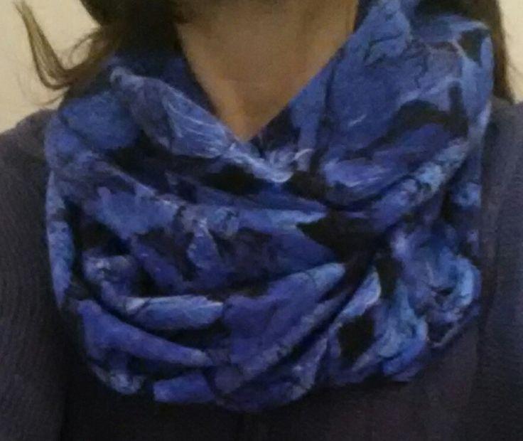 Blue/black cowl scarf by Scarfgoroundboutique on Etsy