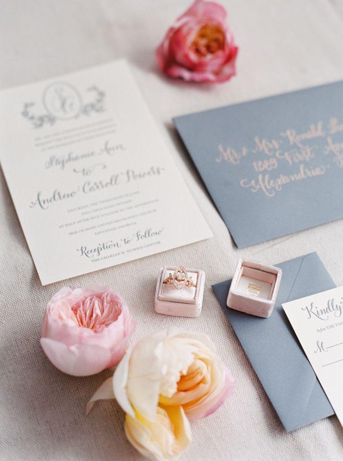 Blush and Gray Wedding Invitations   The Happy Bloom   http://heyweddinglady.com/modern-preppy-wedding-shoot-coral-gray/