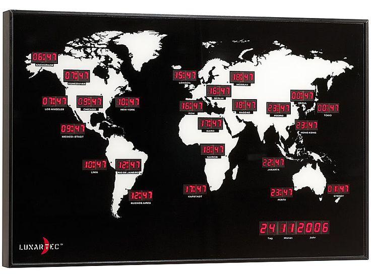 Lunartec Digitale Weltzeit Uhr mit 24 Weltstädten