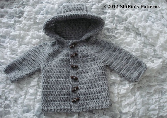 Crochet Pattern For Baby Unisex Hooded Ribbed Edged Jacket
