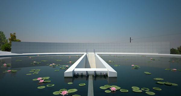 Vista do lago que fica no piso superior do Templo Shingonshu Honpukuji ou Templo das Águas, na ilha Awaji, Japão. Dividindo o lago ao meio fica a escada que leva ao interior do templo. Arquiteto: Tadao Ando. Fotografia: Ken Conley.