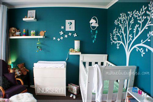 Dark teal boy nursery yes someday baby nursery for Dulux boys bedroom ideas