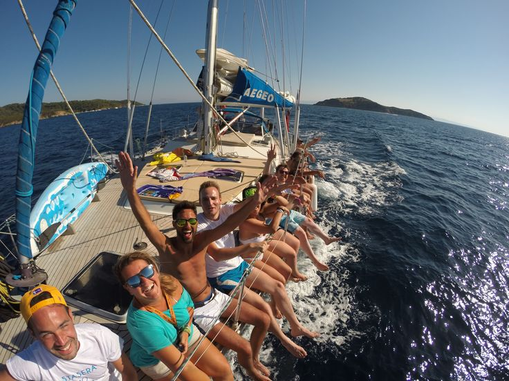 taking memorable pics with guests on board while sailing