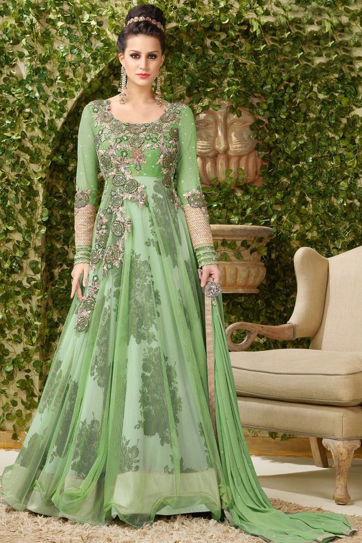 Green Heavy Embroidered Floor Length Gown Style Party Wear Long Anarkali Suit in Net Fabric With Silk Printed Inner  #green #pink #net #silk #vipul #anarkali #gown 3indian #designer