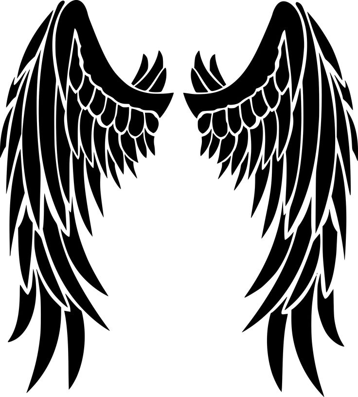 Angel wings by @liftarn, Angel wings traced from https://pixabay.com/sv/vinge-svart-ludd-bird-709101/, on @openclipart