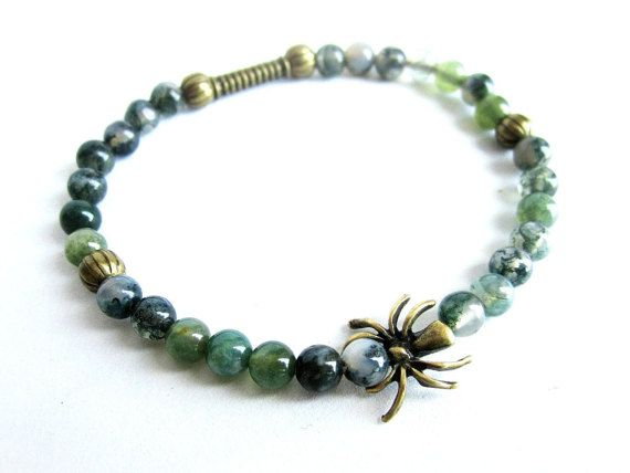 Mens spider bracelet mens gemstone beaded by Bravemenjewelry