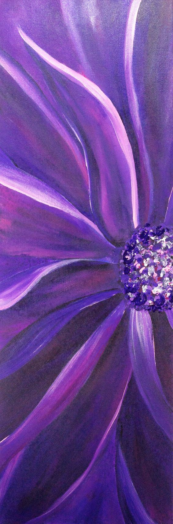 Wall paint purple - Purple Flower Original Abstract Acrylic Wall Painting