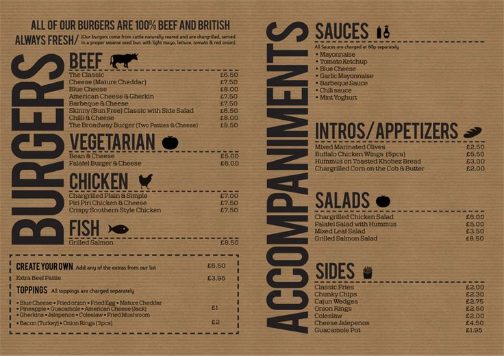 Burger off broadway menu design pinterest