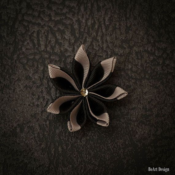 Black/Blue Kanzashi Lapel Pin with Swarovski by BoArtDesign
