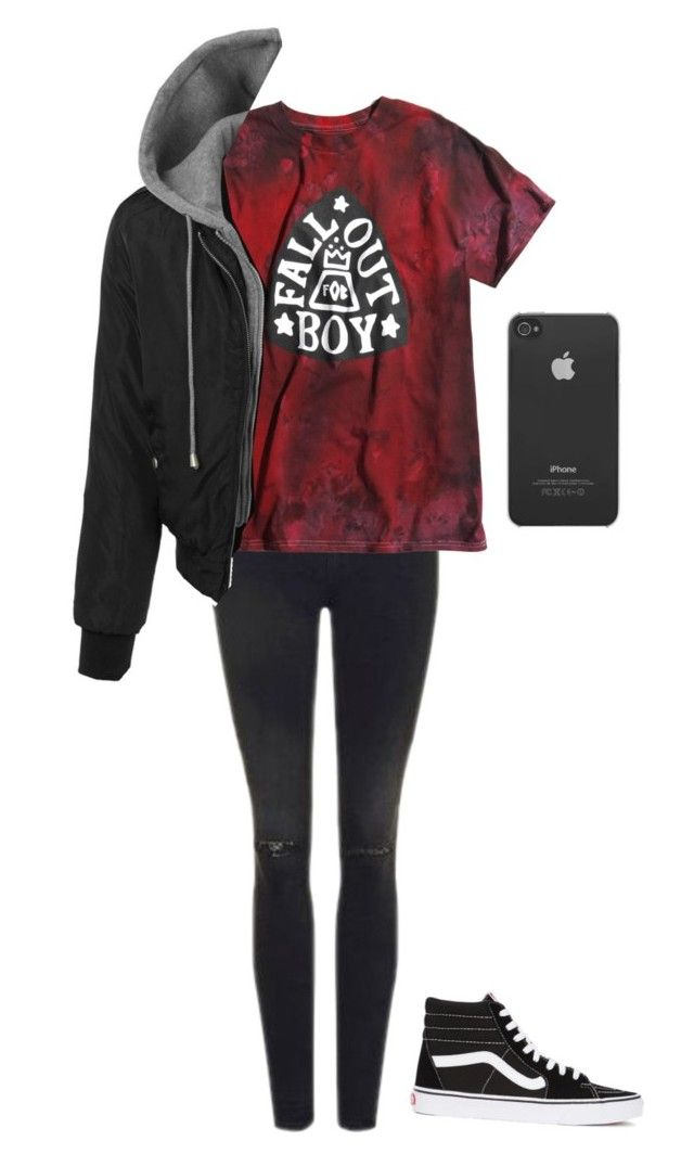 """masculine band tee outfit"" by addict-with-a-cas ❤ liked on Polyvore featuring Topshop, Incase, LE3NO and Vans"