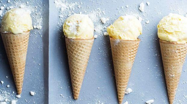 Lemon curd ice cream with meringue crumble