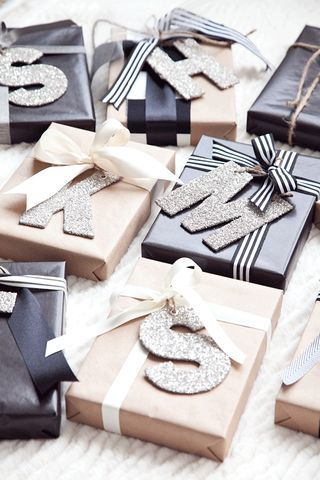 As always my siblings are getting all the same gift, so I thought it would be fun to personalize the wrapping with these german glitter alphabet ornaments from Pottery Barn (HERE). We like that no ski