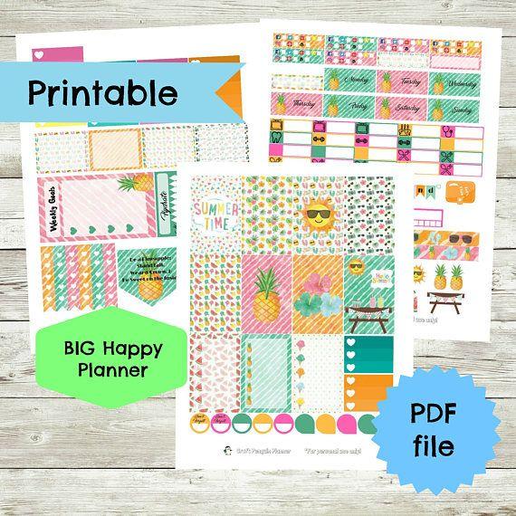 Summer Weekly Planner Sticker Set BIG Happy Planner stickers