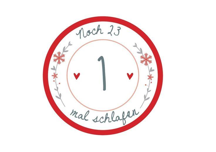Adventskalenderzahlen noch einmal schlafen Sticker von Lottes Laden auf DaWanda.com