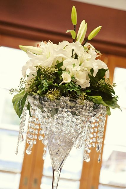 Martini Vase With Hanging Crystals And Fresh Oriental Lilies White Calla By WED On CenterpieceGlass CenterpiecesWedding