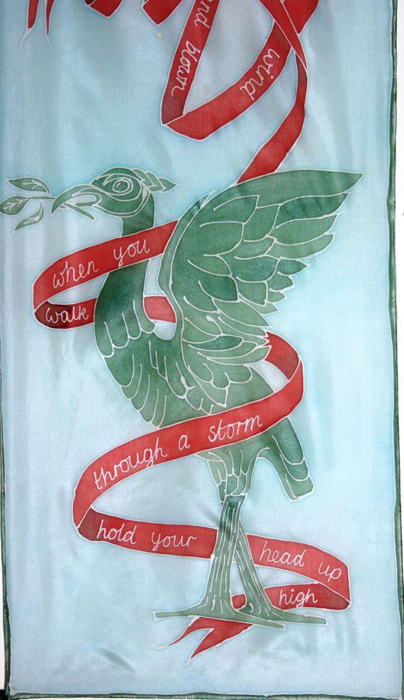 Liverpool Liver Birds Hand Painted Art Batik Silk by SkyFenSilk, £100.00