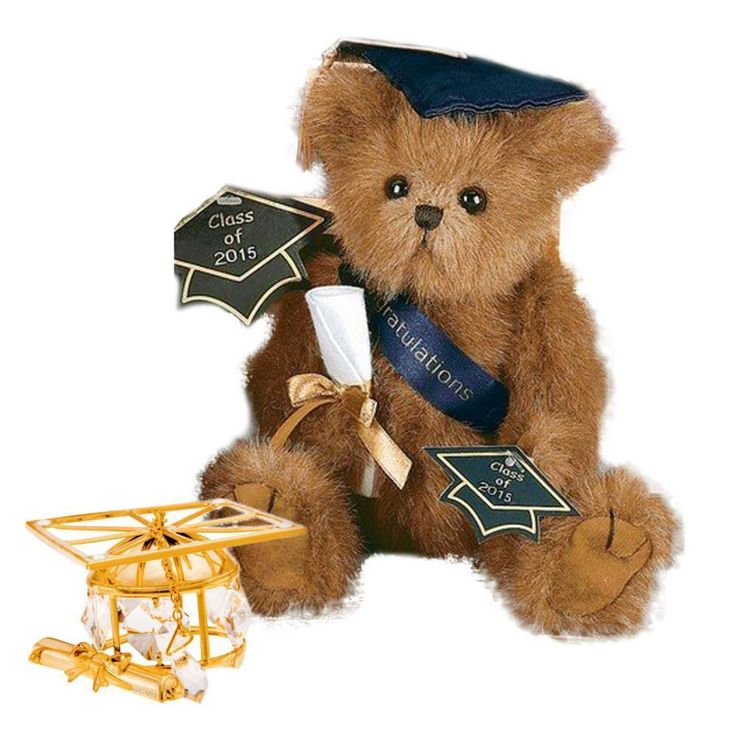 Bearington Plush Smarty 2016 Graduation Teddy Bear with Matashi 24k plated Graduation Hat Ornament with Clear Crystals