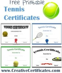32 best tennis crafts images on pinterest diy gifts and good ideas a variety of free printable tennis certificate templates many more free sports awards and award certificates on this site yadclub Choice Image