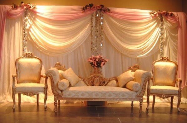 pretty backdrop draping for a head table, wedding