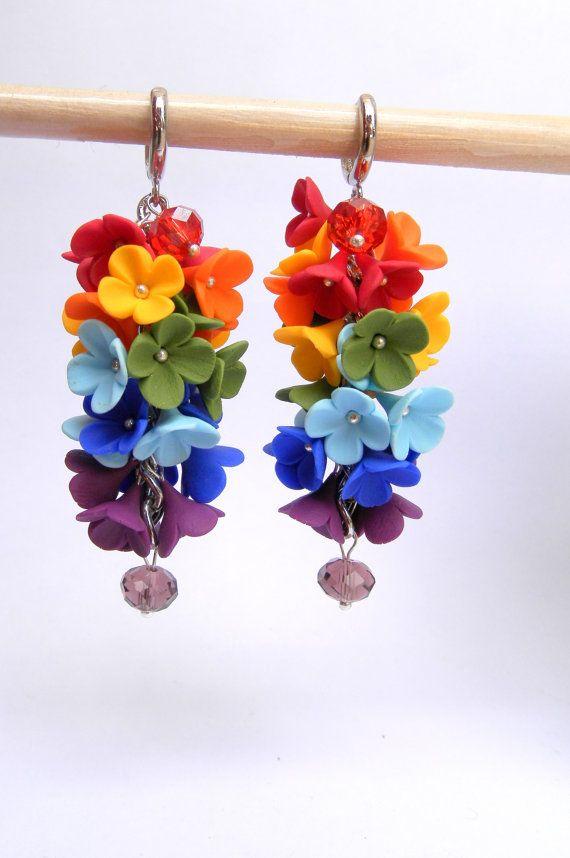 Rainbow earrings  Flower earrings  Summer earrings by insoujewelry, $38.00