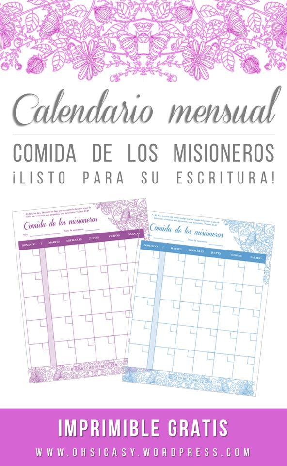 Calendario en limpio para escribir las asignaciones de las comidas para los misioneros ¡Imprimible gratis!  Por: Oh Si Casy